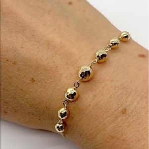 NEW 14k Gold Diamond Cut Ball Bolo Bracelet